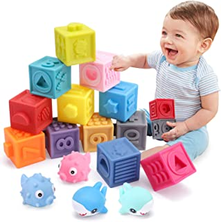 OWNONE 1 Baby Soft Blocks, 16PCS Stacking Building Blocks, Teething & Squeezing Toys for Babies, Cube Blocks with Numbers ...