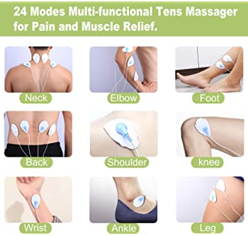 Belifu Dual Channel TENS EMS Unit 24 Modes Muscle Stimulator for Pain Relief Therapy, Electronic Pulse Massager Muscl...