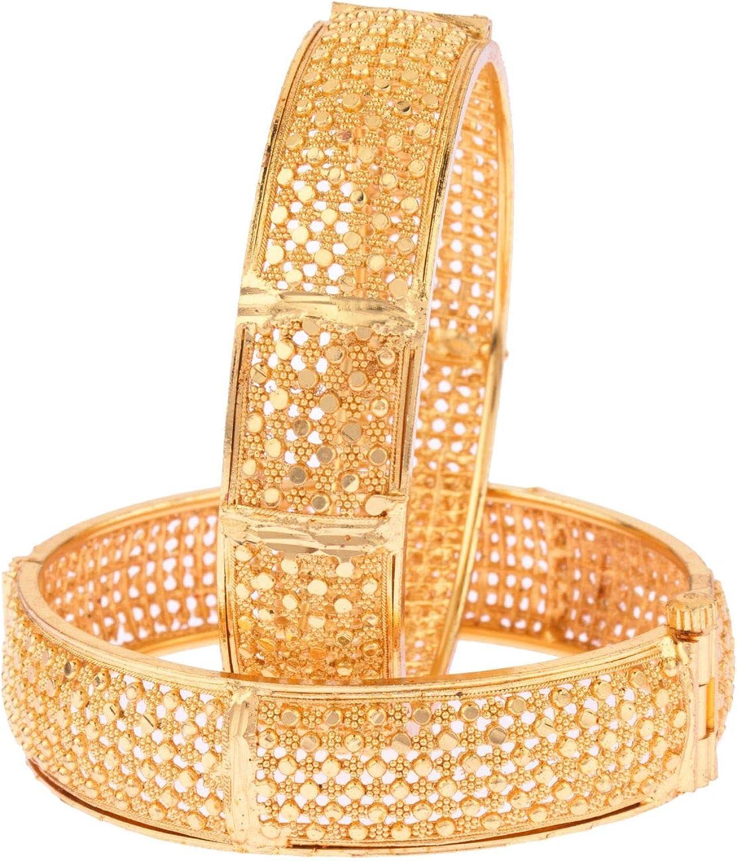 Efulgenz Indian Style Bollywood Antique Traditional 14 K Gold Plated Wedding Bridal Bracelet Hinge Open Bangle Set Jewelry (2 Pc)