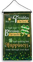 Seasonal Decor St Patrick's Day Hanging Wall Blessing Banner - 11.75 x 20.5 Inches (May Your Troubles Be Less)