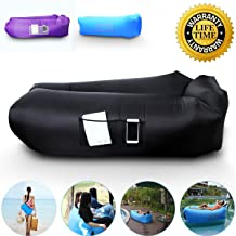 Anglink Outdoor Inflatable Lounger Couch, Thick Durable Comfortable, Air Sofa Blow Up Lounge Sofa Carrying Bag Travelling, Camping, Hiking, Park, Pool Beach Parties