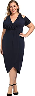 Women's Plus Size Stretch Cold Shoulder Solid Dress with Slit - Calf Length Casual Party Cocktail Dress
