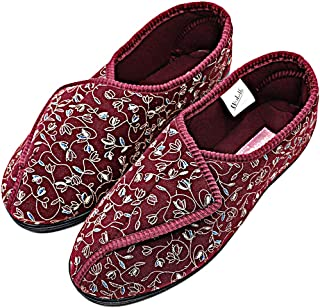 Orthoshoes Womens Diabetic Slippers Swollen Feet Embroidery House Shoes Adjustable Touch Close Strap Memory Foam Wide Width for Elderly, Seniors, Edema