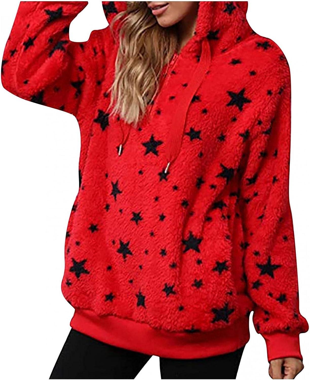 Women Hoodies Furry Tie Dye Print Coat Warm Double-Sided Plush Sweatshirt Loose Long Sleeve Casual Fleece Blouse