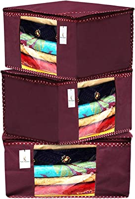 Heart Home 3 Pieces Non Woven Fabric Saree Cover/Clothes Organiser for Wardrobe Set with Transparent Window, Extra Large (Maroon)- HEART6950