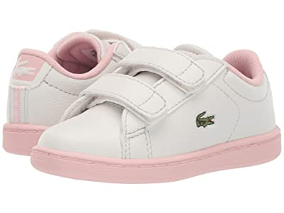 Lacoste Kids Carnaby Evo Strap 119 1 SUI (Toddler/Little Kid) (Off-White/Light Pink) Girl
