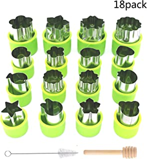 Tissir Cookie Cutters Set, 18 pc Stainless Steel Fruit and Vegetable Cutter Shapes Cheese Presses