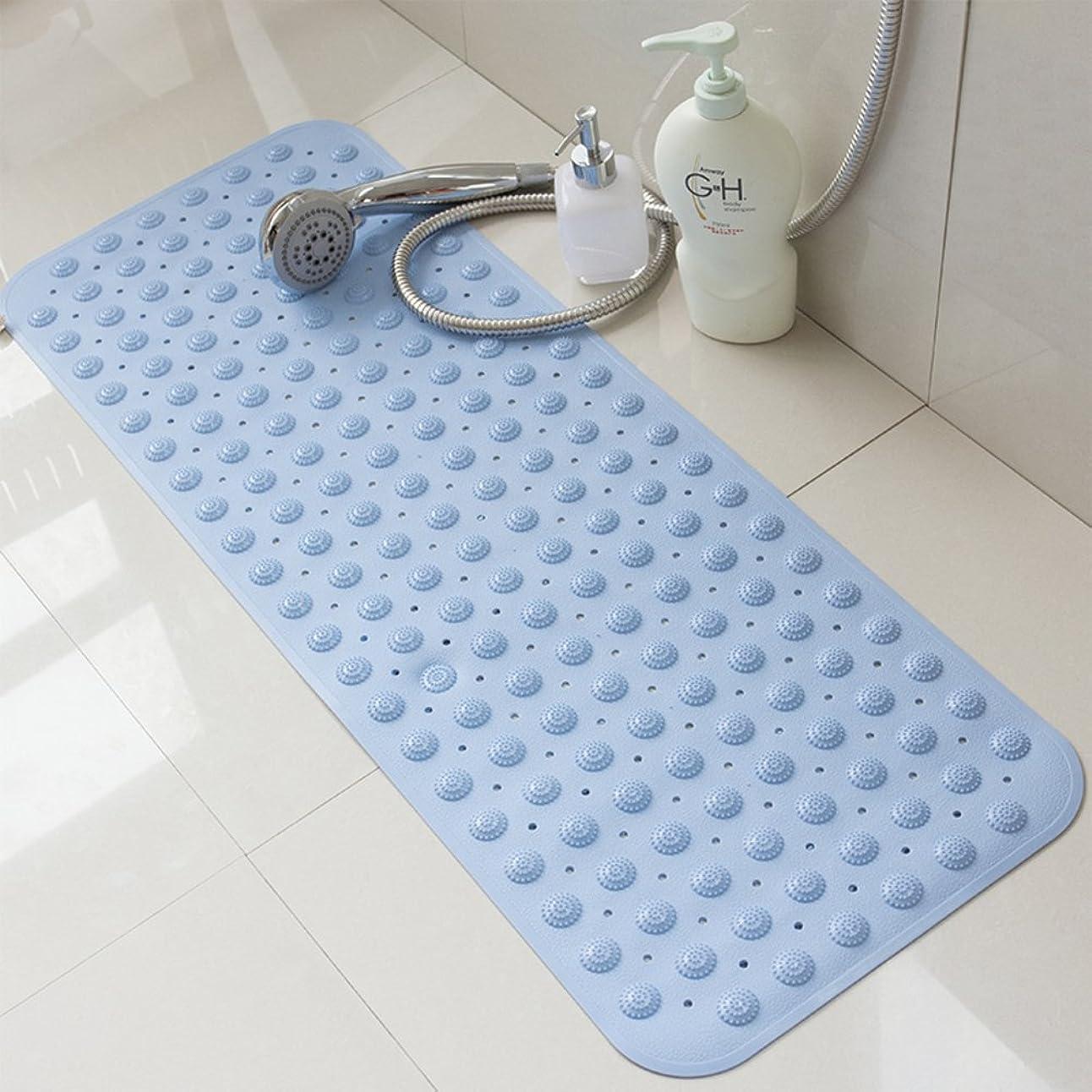 シーサイドクッションハム安全性 抗細菌 滑り止め シャワー マット,洗濯可能 バスマット と サクションカップ-水色 40x100cm(16x39inch)