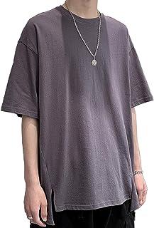 [Sposee] Tシャツ カットソー トップス 無地 シンプル ビックシルエット だる着 スリット サイドスリット 前後アシメ 5分袖 M 〜 XL メンズ