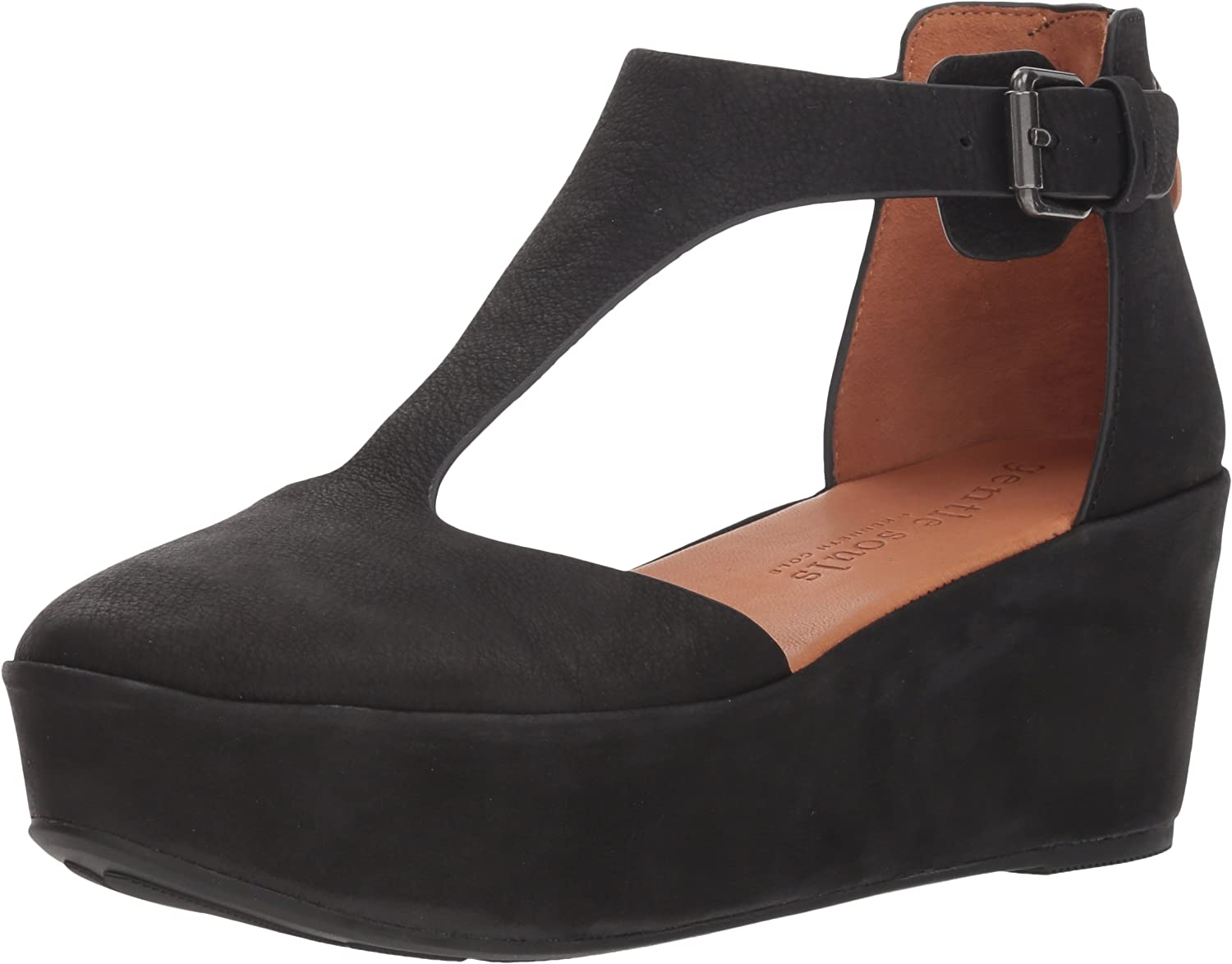 Gentle Souls Womens Nydia Platform Wedge with T-Strap Platform