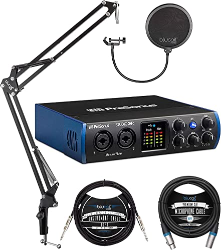 new arrival PreSonus Studio 24c 2x2, 192 kHz, USB Audio Interface for online sale Mac and Windows Bundle with Blucoil Boom Arm Plus new arrival Pop Filter, 10-FT Balanced XLR Cable, and 10-FT Straight Instrument Cable (1/4in) online