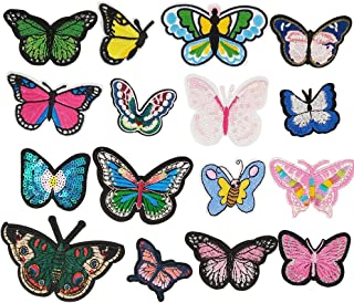 Libiline Random 16pcs Embroidered Butterfly Patch Sew On/Iron On Patch Applique Clothes Dress Plant Hat Jeans Sewing Flowers Applique DIY Accessory (Butterfly)