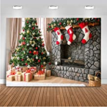 Mocsicka Christmas Backdrop 7x5ft Christmas Tree Fireplace and Gift Photo Backdrops Xmas Socks Home Party Decoration Photography Background