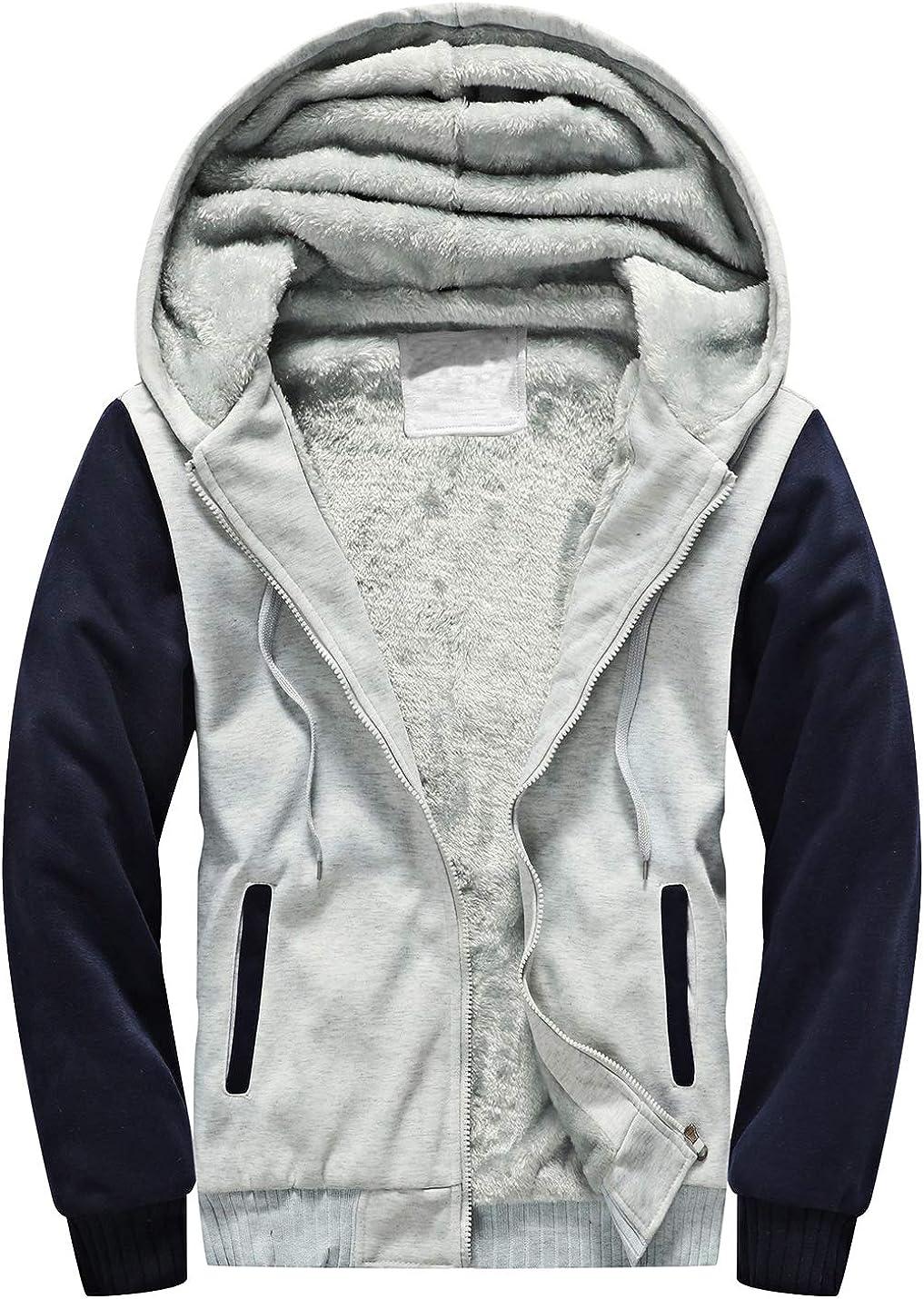 Yeokou Mens Thick Sherpa Lined Full Zip Up Fleece Hoodie Sweatshirt Winter Coat
