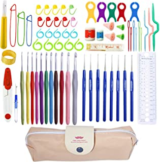 69 Pcs Crochet Needles and Yarn,19 Sizes Ergonomic Crochet Hook Set Sewing Knitting Crochet Accessories Knitting with Case Stitch Holders DIY Craft Tools