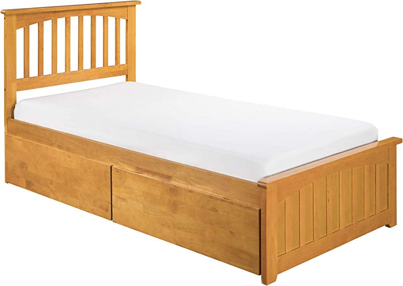 Atlantic Furniture Eco Friendly Twin Wooden Bed In Caramel Latte Finish