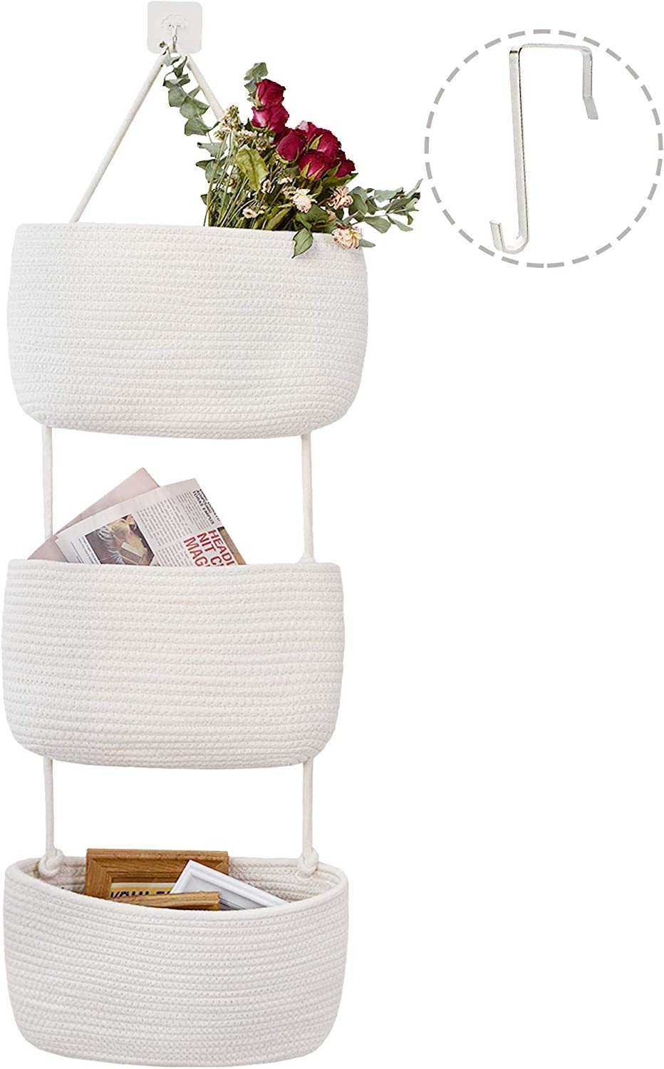 Oklahoma City Mall JS HOME Over The Door Hanging Wall Sturdy Cotton Basket Ha Ranking TOP11 Rope