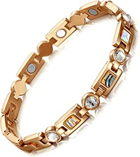 Rainso Titanium Steel Rhinestone Health Golf Magnetic Therapy Bracelets for Women with 3 Smart Buckle