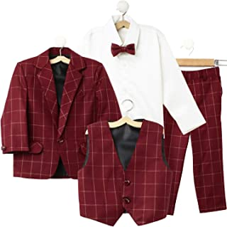 Jeet Creation Boys Maroon Coat Suit with Waistcoat, Shirt, Bow and Trouser Set (9048CRH)