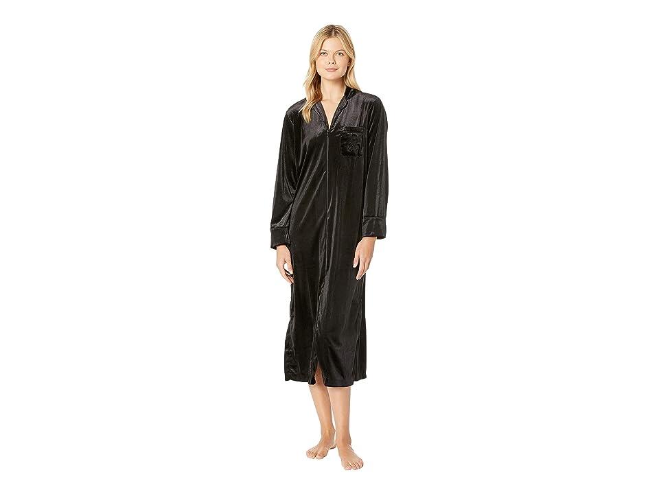 LAUREN Ralph Lauren Velvet Long Sleeve Notch Collar Zip Front Caftan (Black) Women's Pajama