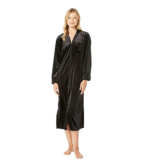 36f1ff1db6492b LAUREN Ralph Lauren Velvet Long Sleeve Notch Collar Zip Front Caftan ...