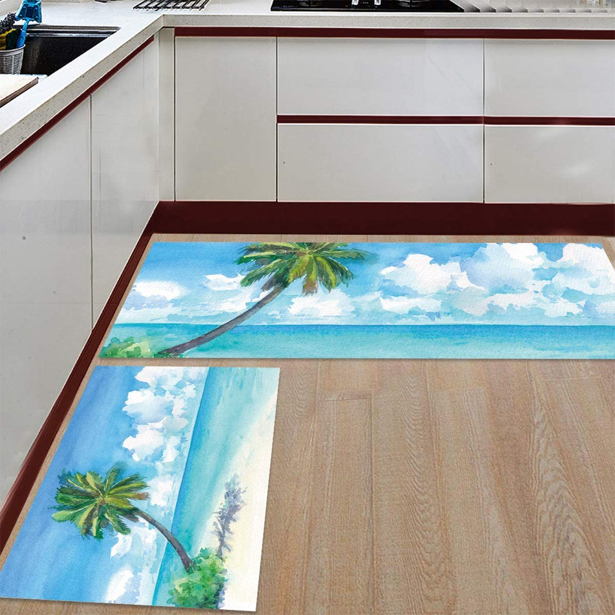 Advancey 2 Pieces Anti-Slip Kitchen Mats Tree T Max 45% OFF safety on Tropical Palm