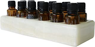 Shades of Stone Luxurious Essential Oils Holder Carrying Case - Storage and Display Box for 12, 15ml Bottles - Free Matching Tray - 100% Onyx Stone (Pearl Stone)