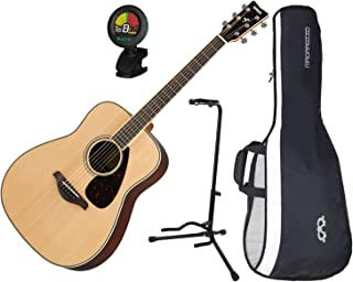 Yamaha FG830NT Solid Sitka Spruce Top Folk Acoustic Guitar Natural w/ Gig Bag, Stand, and Tuner