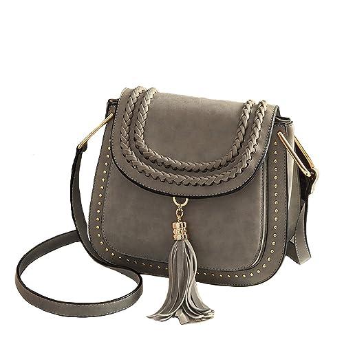 1f5a14db30 Vintage Faux Nubuck Braid Tassels Saddle Bag Cross Body Bags