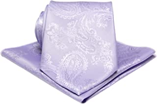 Mens Silk Paisley Tie Set:Necktie and Pocket Square-Gift Sets-(Available in Standard 58-inch and 63-inch Extra Long)