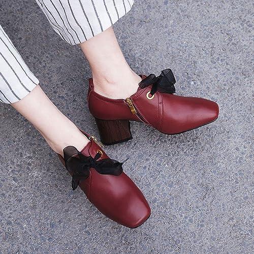 CXY Chaussures de Femmes de Printemps Petites Chaussures à Talons Hauts Frais Station Européenne Chaussures de Femmes Simples Chaussures voiturerées avec Les Chaussures à Semelle,Vin Rouge,40