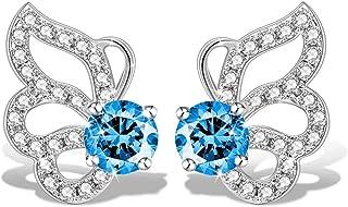 Swarovski Elements 925 Sterling Silver Crystal Butterfly Studs Earrings for Women and Ladies Gift JRosee Jewelry JR8340