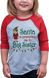Youth Big Sister Christmas Raglan Shirt Red