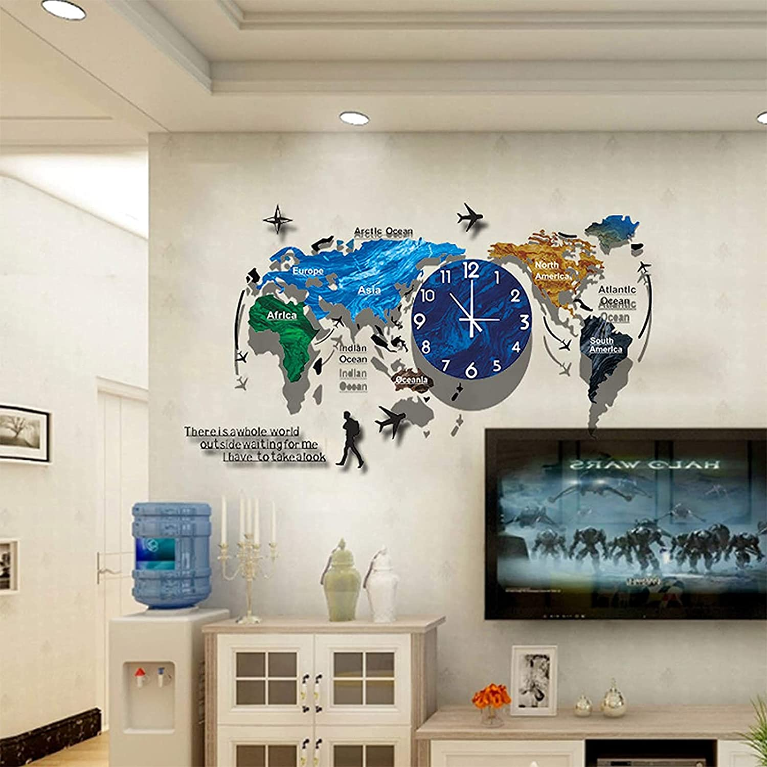 KHXJYC World Map Wall Clock Living Nordic Challenge In stock the lowest price of Japan ☆ Room Ho Luxury