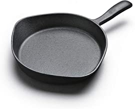 XXDTG Metal Frying Pan - Indoor and Outdoor Uncoated Cast Iron Skillet, One Piece, for Induction and Gas, Black