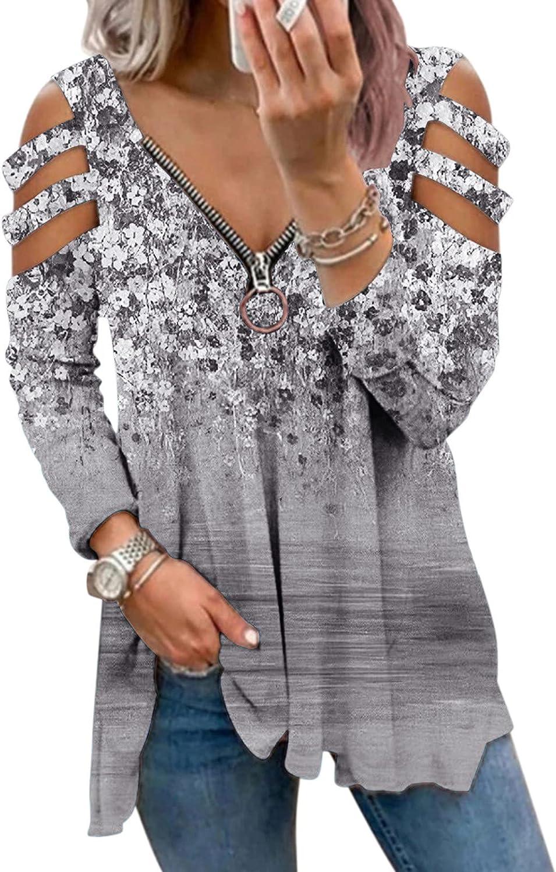 Womens Long Sleeve Tops,Women Sweatshirts with Zipper Vintage Teen Girls Oversized Off Shoulder Graphic Pullover