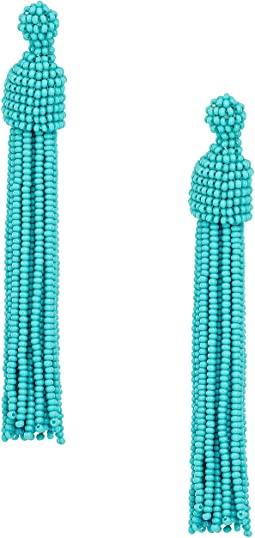 Kenneth Jay Lane Turquoise Seed Bead Tassel Post Earrings