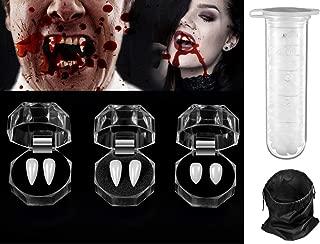Yo-fobu 5 Pieces Vampire Fangs Fake Teeth Vampire Teeth Fangs 1 Tube Tooth Adhesive Halloween Zombie Cosplay Halloween Costume Props Party Favors, 1pc Storage Bag Free