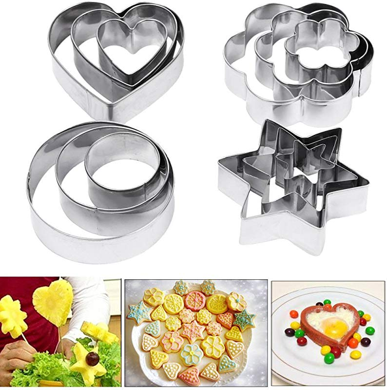 Amison Cookie Pastry Fruit Cutters 12 Pcs Metal Stainless Steel Heart Star Circle Flower Shaped Mould