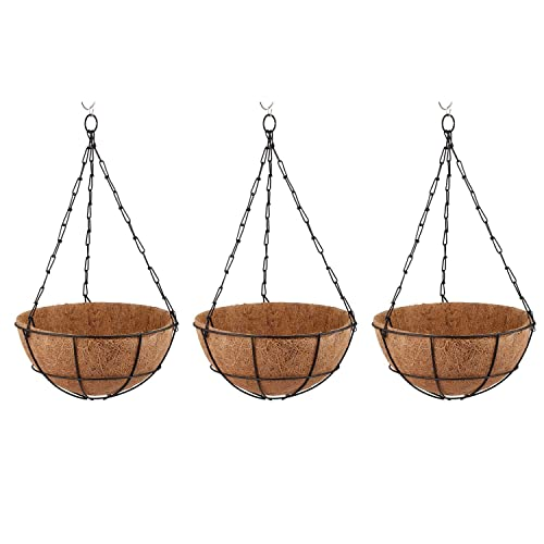 Minerva Naturals Coir Hanging Thick And 10-Inch Pot For Home Garden (Pack Of 3)