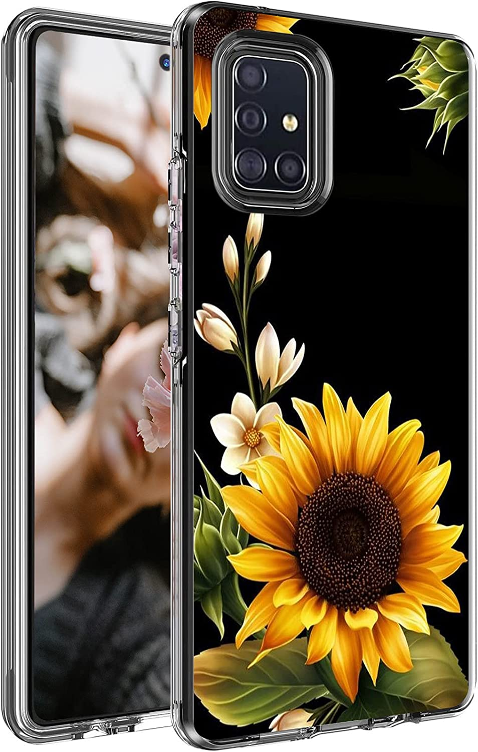 Case for Samsung Galaxy A71 5G 6.7 Inch, Shock-Absorption Flexible TPU Bumper Slim Dual Layer Hybrid Protective Cover Clear with Pattern for Girls Men Women, Sunflower