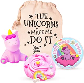 Fluffy Unicorn Dreams - Fluffy Unicorn Slime & Squishy Toy Set Unicorn Gift for Girls - W/Rainbow & 6 Star Slime Charms Wrapped in A Unicorn Bag - Fluffy Slime Kit for Girls | 6+ Year Old Girl Gifts