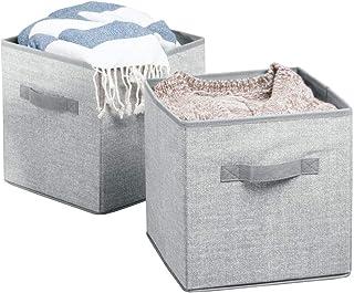 mDesign lot de 2 boîtes de stockage pour jouets – grands paniers de rangement avec poignée pour penderie de chambre d'enfa...
