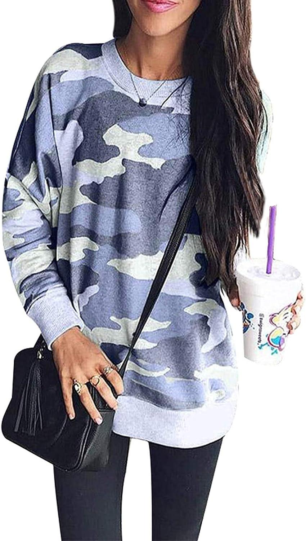 LuckyMore Womens Sweatshirts Crewneck Casual Fall Leopard Camo Tunic Sweatshirt Pullover Tops