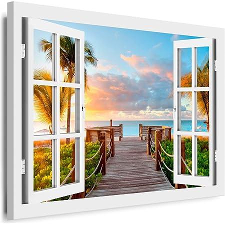 Bilder Leinwandbild Wandbild Fenster Blick 120 x 80 cm aufhängfertig 4404