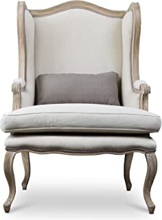 Baxton Studio Auvergne Wood Traditional French Accent Chair, Large, Brown