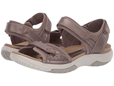 Rockport Franklin Three Strap (Taupe Metallic Leather) Women