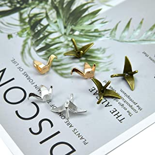 Monrocco 60pcs 3 Color Origami Paper Crane Charm Pendant Jewelry Findings, 21 x 15mm, Gold, Rose Gold, Antique Bronze