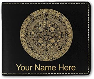 Faux Leather Wallet, Aztec Calendar, Personalized Engraving Included