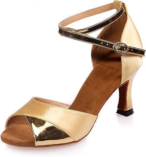 Elobaby schuhe De Baile De damen Sandalias De Noche Bombas Mid Peep Toe Satin Slip On Prom   7.5cm TalóN